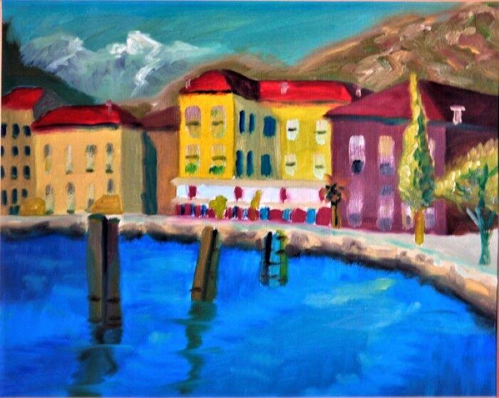 Portuguese Port Town, 40cm x 50cm, oil