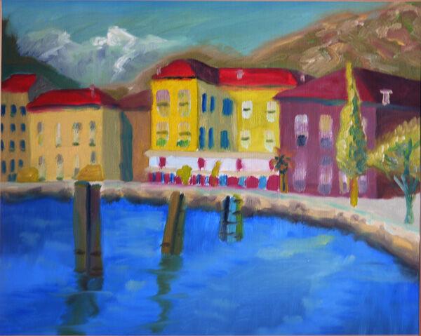 Portuguese Port Town, oil on paper, 40cm x 50cm