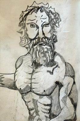 Poseidon, 4.5in x 7in, charcoal pencil