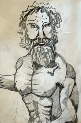 Poseidon, 6in x 8in, charcoal pencil