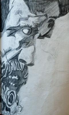 Psychosis, 11.5cm x 18cm, charcoal pencil