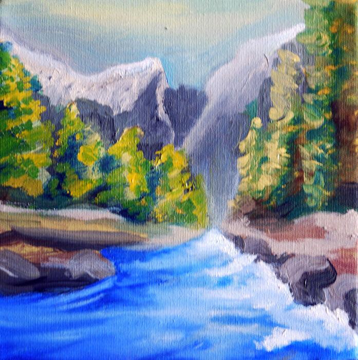 Rocky Waterline, 08,04,2021, 20cm x 20cm, oil on canvas