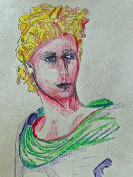 Roman Emperor, 24cm x  30.5cm, coloured pencils