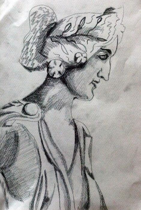 Roman Female, 24cm x  30.5cm, charcoal pencil