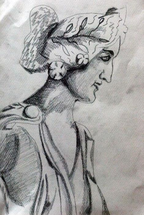 Roman Female, 9in x 12in, charcoal pencil