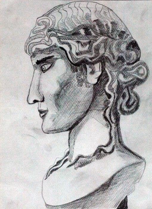 Roman Male, 24cm x  30.5cm, charcoal pencil
