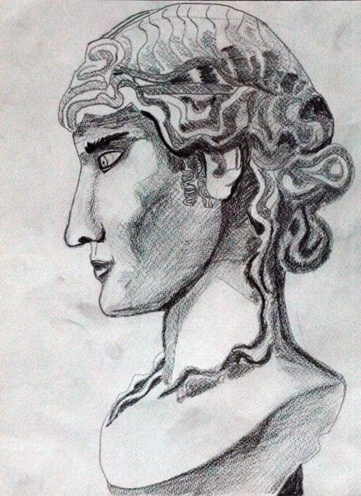Roman Male, 9in x 12.5in, charcoal pencil