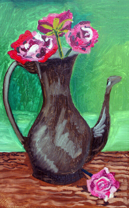 Roses and Jug, oil on board, 25.5cm  x 40.5cm, 22,11,2019