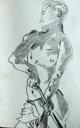 Sargent 02, 11.5cm x 18cm, charcoal pencil