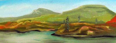 Shehallion, oil on canvas, 30cm x 80cm