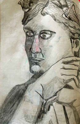Shephard, 11.5cm x 18cm, charcoal pencil