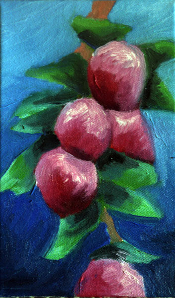 Sprig of Apples, oil on canvas, 15cm x 24cm, 15,10,2020