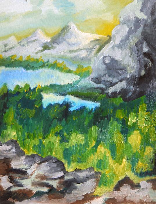 Summer Gorge, 08,04,2021, 25cm x 31,5cm, oil on board
