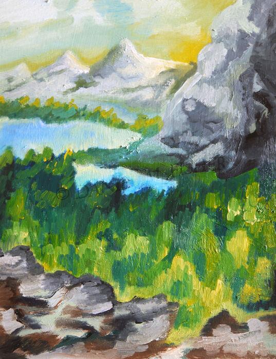 Summer Gorge, 2021, 25cm x 31.5cm, oil