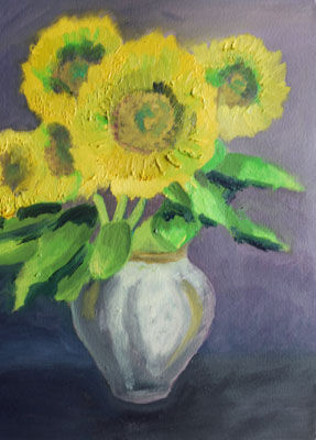 Sunflowers, 23cm x 30.5cm, oil on arches paper