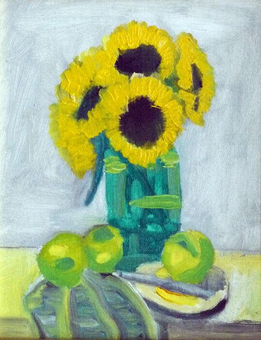 Sunflowers and Apples, 2019, 20cm x 25.5cm, oil