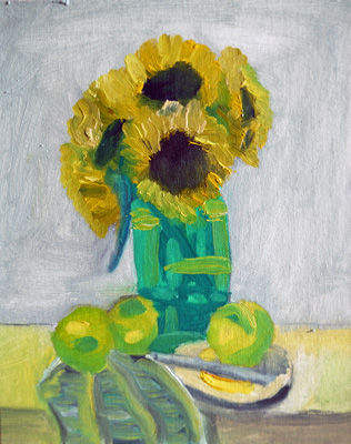 Sunflowers and Apples, 8in x 10in, oil on board