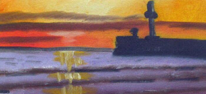 Sunset Shore, 14.5cm x 29cm, oil