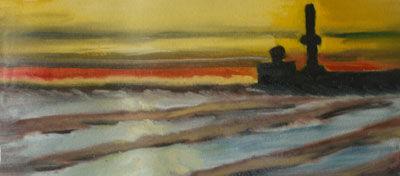 Sunset Shore, oil on canvas, 20cm x 45cm