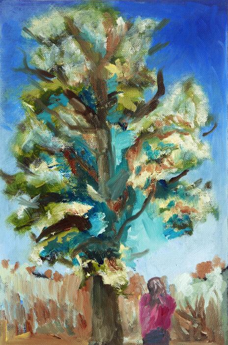Tall Tree, 17.5cm x 25cm, oil