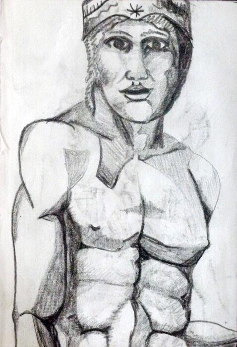 Taureg, 4.5in x 7in, charcoal pencil
