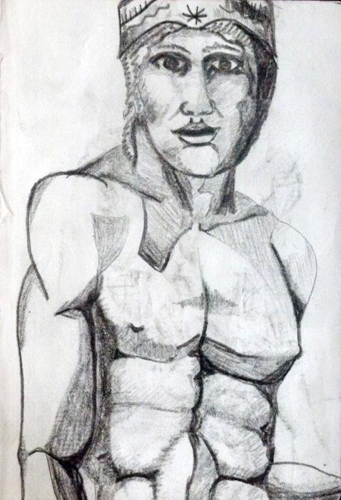 Taureg, 6in x 8in, charcoal pencil