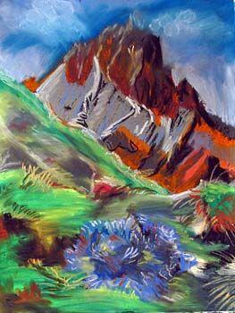 The Dolomites, soft pastels, 50cm x 65cm