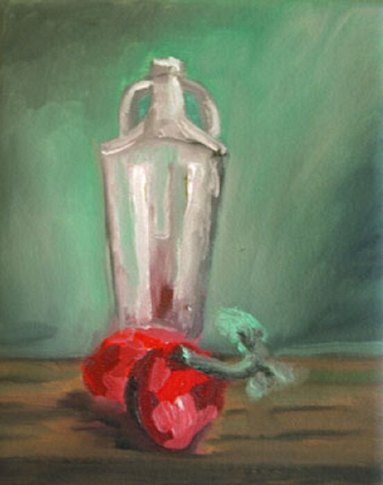 Tomatoes and Glass Jar, 20cm x 25.5cm, oil