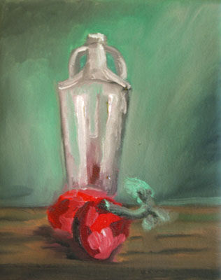 Tomatoes and Glass Jar, 20cm x 25.5cm, oil on canvas