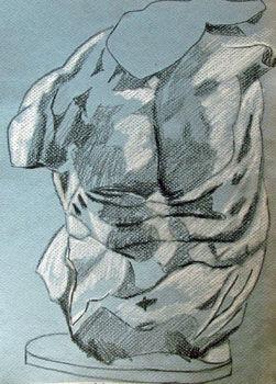 Torso, 24cm x  30.5cm, charcoal pencils
