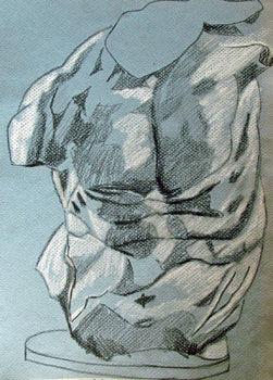Torso, 9in x 12.5in, charcoal pencils