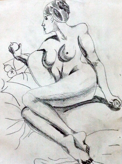 Venus 01, 24cm x  30.5cm, charcoal pencil