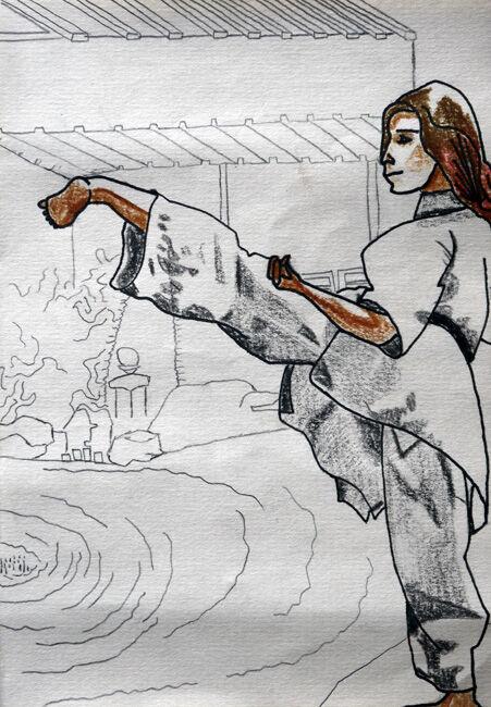 Warrior Woman, mixed media, 15cm x 20.5cm, 30,03,2020
