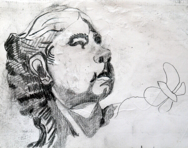 Young Girl, 11.5cm x 18cm, charcoal pencil