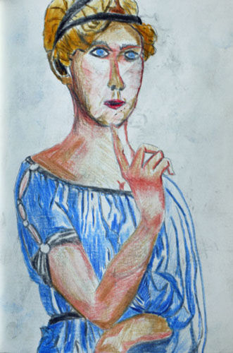 Young Lady, 4.5in x 7in, coloured pencils