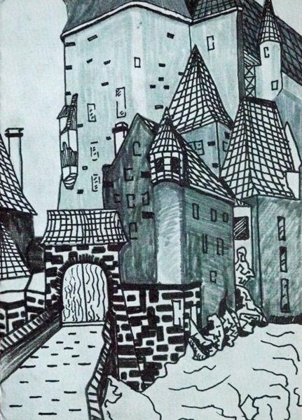 eltz castle, pens, 6in x 8in