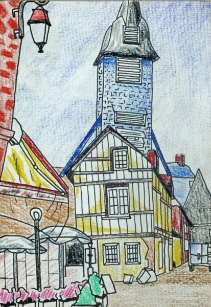 french market town, mixed media, 6in x 8in