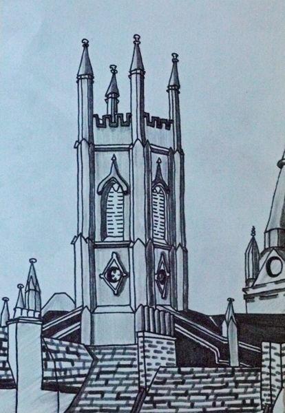 granite city church, pens, 6in x 8in