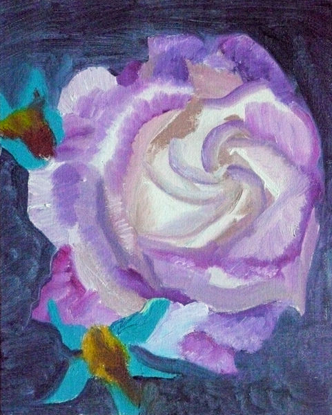 mauve and white rose, oil on board, 8in x 10in