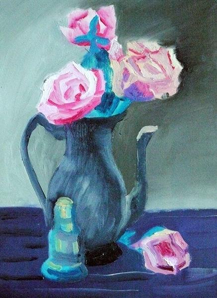 roses in a  jug, oil on paper, 12in x 16in