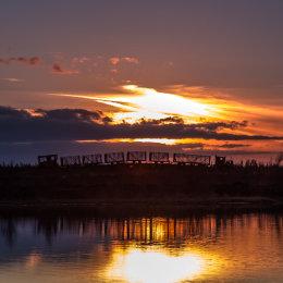 1052-Sky Train Sunset Lough Boora Parklands Offaly