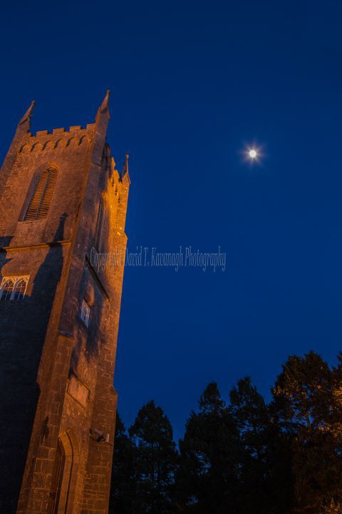 1058-Moon over St Catherine's Church Hophill Tullamore Offaly Ireland