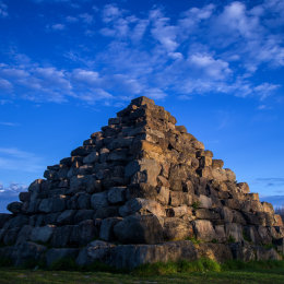 1081-Pyramid in early morning light Lough Boora Parklands Offaly Ireland DP