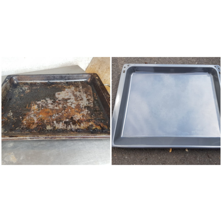 An oven tray cleaned
