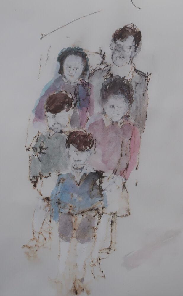 """Nana's for Tea, 47"" Ink & Watercolour on Paper 2021 28x15cm"