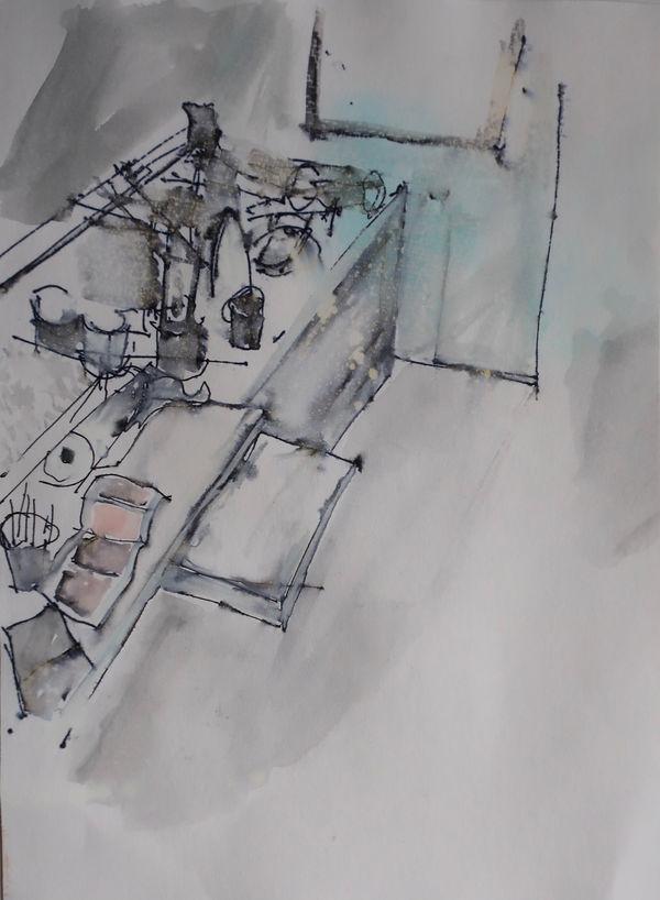 Opposite Corner. 2019 Ink & Watercolour on Paper. 24x19cm