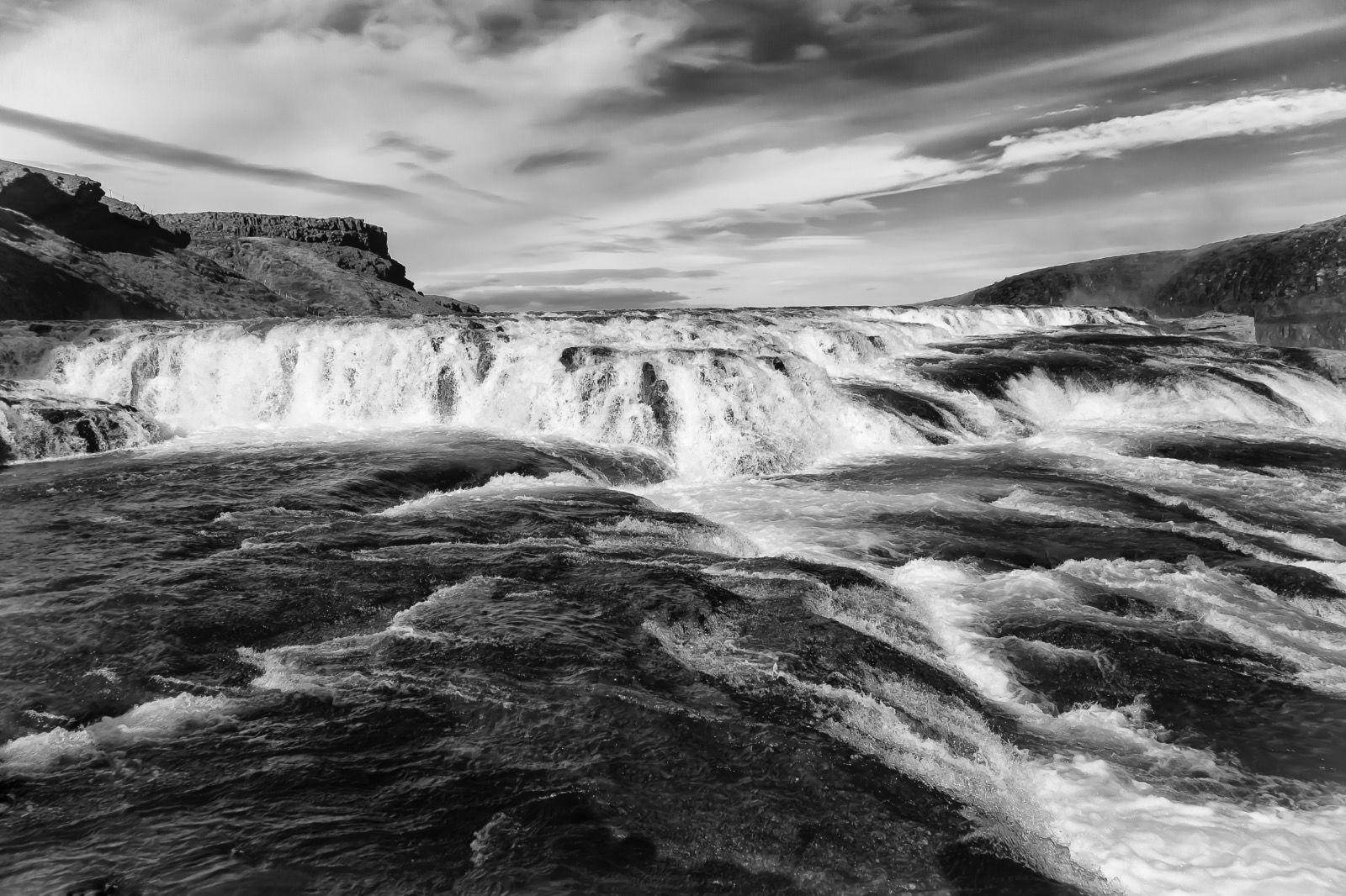 B&W Iceland Waterfall