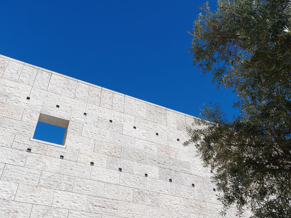 Stone window with blue sky, Lisbon