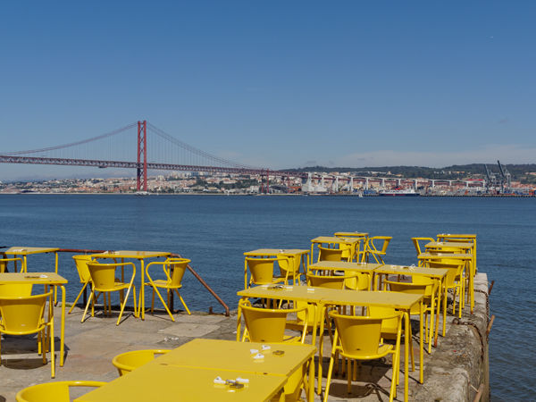 Yellow tables and chairs
