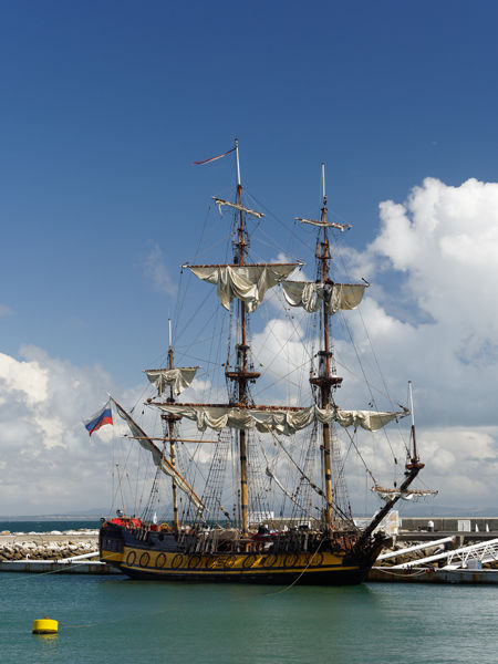 Tall ship with clouds